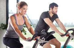 Spinning at gym Royalty Free Stock Image