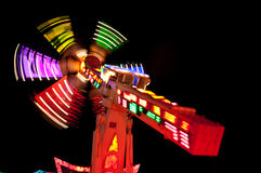 Spinning Lights. Of a thrilling ride in a fun fair Royalty Free Stock Photo