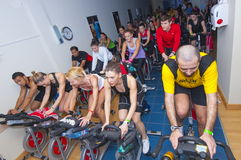 Spinning marathon challenge Royalty Free Stock Photo
