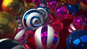 Spinning New Year Dazzling Balls. A funny 3d rendering of shining glass balls for a Christmas fir tree. They levitate over a green floor and create a celebratory Royalty Free Stock Photo