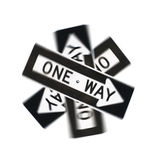 Spinning one-way traffic sign Stock Images