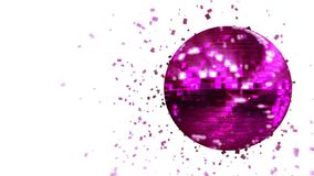 Spinning pink-violet glow disco ball composed of cubes-crystals