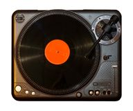 Spinning Record Vinyl Player with orange vinyl record Stock Image