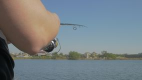 Spinning reel in action stock video footage