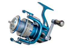 Spinning reel, 3D rendering. Isolated on white background royalty free illustration