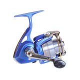 The Spinning reel for fishing isolated over white Stock Image