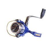 The Spinning reel for fishing isolated Royalty Free Stock Images