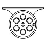 Spinning reel icon, outline style. Spinning reel icon. Outline illustration of spinning reel vector icon for web Stock Photography