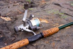 Spinning reel and rod Royalty Free Stock Image