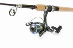 Spinning rod and reel Royalty Free Stock Photos