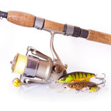 Spinning rod and reel with wobbler lure Stock Photography