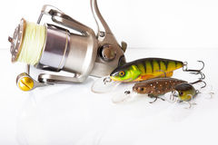 Spinning rod and reel with wobbler lure Stock Photos