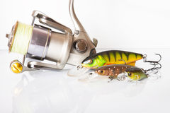 Spinning rod and reel with wobbler lure Royalty Free Stock Photos