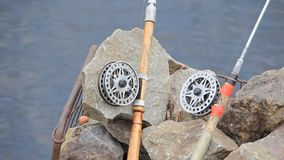 Spinning rods. Two spinning rods stock video