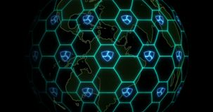 Earth is entangled by NEM XEM blockchain network. Blockchain concept. The spinning semi-transparent Earth is entangled by a blockchain network with NEM XEM stock footage