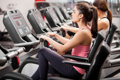 Spinning session at the gym Stock Photography