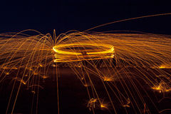 Spinning Shower of Sparks Stock Images