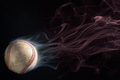 Spinning Smoking Hot Baseball Stock Photo