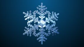 Spinning Snowflake On Blue Background