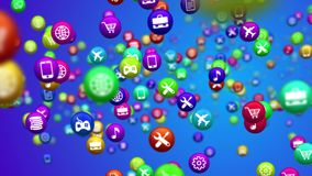 Spinning social media colorful news balls. Holographic 3d illustration of social media services in billiards balls whirling all around. All balls are covered Stock Image