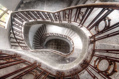 Spinning Stairs. Amazing staircase in an abandoned former military complex. Once the largest Military complex in Europe. The staircase is unique to see in Haus stock images