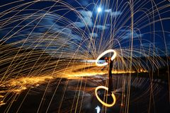 Spinning Steel Wool Stock Photography