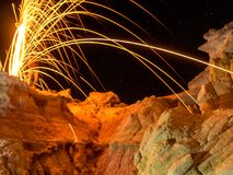 Steel Wool over Paint Mine. Spinning steel wool creates a sparkler effect over the Colorado Paint Mine Stock Photos