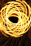 Spinning steel wool on fire. Stock Image