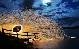Spinning Steel Wool Royalty Free Stock Images