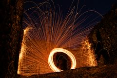 Spinning steelwool is so impresive stock images