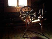 Spinning wheel. From 19th century at Hiiumaa island stock photo