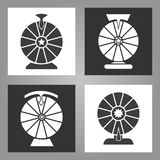 Spinning wheel icons. Lottery money game symbols, monochrome wheels of fortune signs set, vector illustration Royalty Free Stock Photos