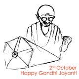 Spinning wheel on India background for Gandhi Jayanti Royalty Free Stock Images