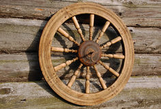 Spinning Wheel on the Wall. Of the house in the Russian village Royalty Free Stock Photography