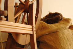Spinning Wheel and Wool royalty free stock photo