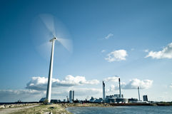 Spinning wind turbine Stock Images