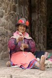 Spinning woman in Cuzco Royalty Free Stock Photography