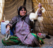 Spinning Wool in rural Iran Stock Image