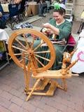 Spinnrad-Demonstration Stockfoto