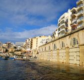 Spinola Bay, St Julian's , awesome destination in Maltese Islands. Beautiful morning at Spinola Bay, St Julian's , awesome all seasons destination in Maltese Royalty Free Stock Image