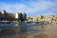 Spinola Bay, St Julian's , awesome destination in Maltese Islands. Beautiful morning at Spinola Bay, St Julian's , awesome all seasons destination in Maltese Royalty Free Stock Photography