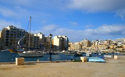Spinola Bay, St Julian's , awesome destination in Maltese Islands. Beautiful morning at Spinola Bay, St Julian's , awesome all seasons destination in Maltese Royalty Free Stock Images
