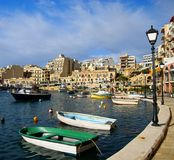Spinola Bay, St Julian's , awesome destination in Maltese Islands. Beautiful morning at Spinola Bay, St Julian's , awesome all seasons destination in Maltese Royalty Free Stock Photo