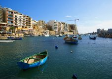 Spinola Bay, St Julian's , awesome destination in Maltese Islands. Beautiful morning at Spinola Bay, St Julian's , awesome all seasons destination in Stock Photo