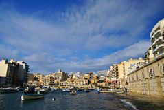 Spinola Bay, St Julian's , awesome destination in Maltese Islands. Beautiful morning at Spinola Bay, St Julian's , awesome all seasons destination in Maltese Royalty Free Stock Photos