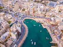 Spinola Bay, St. Julians and Sliema town on Malta. Beautiful aerial view of the Spinola Bay, St. Julians and Sliema town on Malta Royalty Free Stock Photos