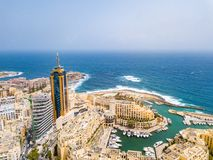 Spinola Bay, St. Julians and Sliema town on Malta. Beautiful aerial view of the Spinola Bay, St. Julians and Sliema town on Malta Royalty Free Stock Image