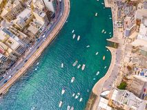 Spinola Bay, St. Julians and Sliema town on Malta. Beautiful aerial view of the Spinola Bay, St. Julians and Sliema town on Malta Stock Photography