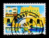 Spinola Palace, St Julian`s, National Heritage of the Maltese Islands serie, circa 1991. MOSCOW, RUSSIA - OCTOBER 3, 2017: A stamp printed in Malta shows Spinola Stock Photo