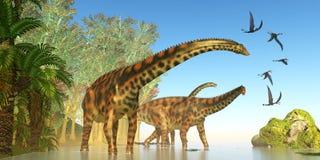 Spinophorosaurus Dinosaur Marsh royalty free stock photography